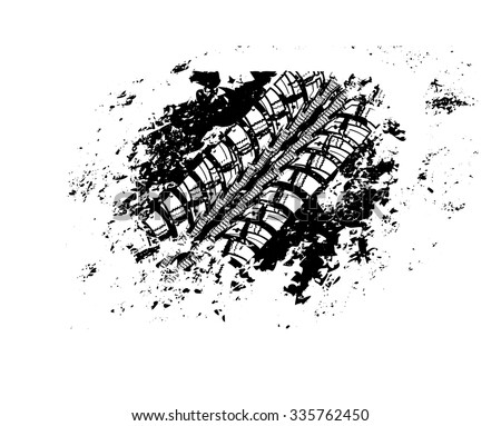 Tire track vector background - stock vector