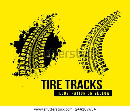 Tire track vector background on yellow background - stock vector