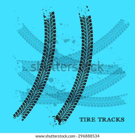 Tire track vector illustration on blue background - stock vector