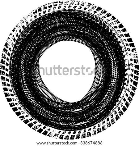 tire track vector round border frame stock vector 338674886 rh shutterstock com