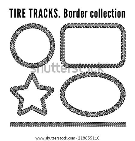 Tire tracks frame set. Vector illustration on white background - stock vector