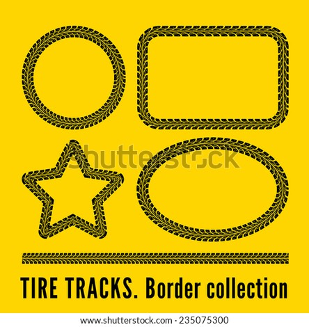 Tire tracks frame set. Vector illustration on yellow background - stock vector