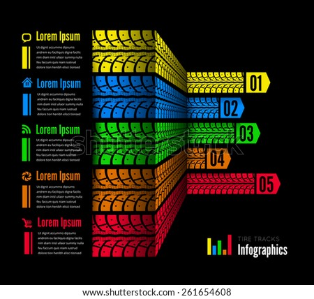 Tire tracks infographics background. Vector illustration. can be used for workflow layout, diagram, number options, business step options, banner, web design, infographics, mark design - stock vector