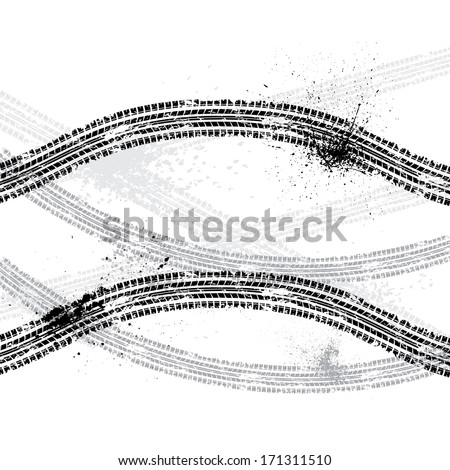 Tire tracks isolated on white. eps10 - stock vector