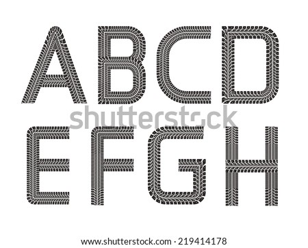Tire tracks vector font on white background. Part 01 - stock vector
