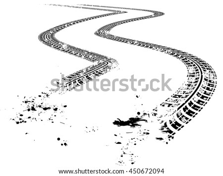 Tire tracks. Vector illustration on white background - stock vector