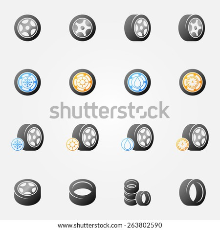 Tire vector icons set -  wheel tyre symbols or logos