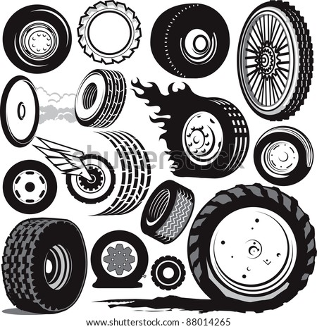 Tire & Wheel Collection - stock vector