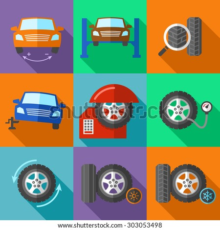 Tire wheel service icons set in flat design style. Car calibration, jack and tuning, fix and pump pressure, vector illustration - stock vector
