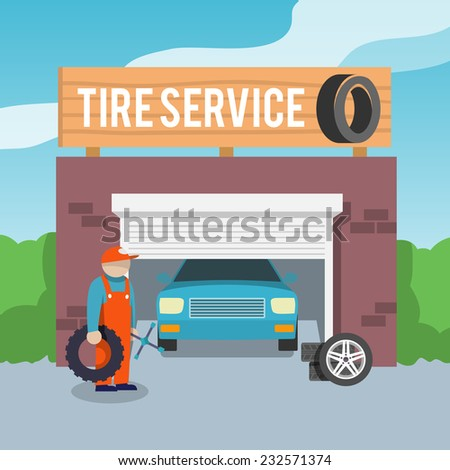 Tire wheel service shop garage with car and mechanic flat vector illustration - stock vector