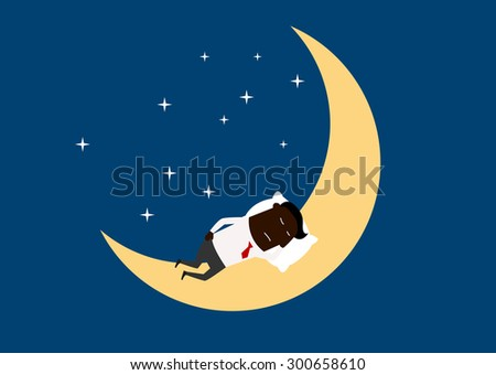 Tired african american businessman sleeping on the moon, cartoon flat style