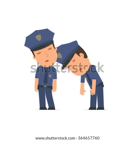 Tired and Exhausted Character Officer sleeping on the shoulder of his friend. Poses for interaction with other characters from this series - stock vector