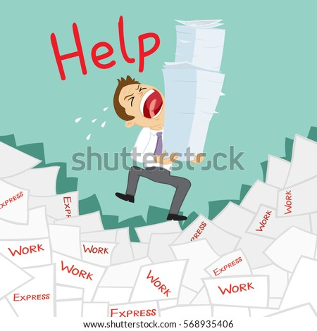 tired businessman holding papers want help stock vector  tired businessman holding a lot of papers want for help vector illustration cartoon