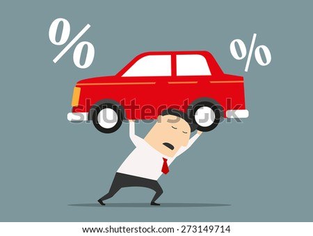 Tired cartoon businessman carries on his shoulders expensive debt for car, suitable for finance or loan responsibility concept design. Flat style - stock vector
