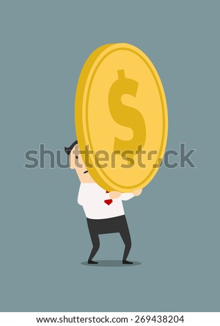 Tired cartoon businessman carrying huge golden coin with dollar sign in flat style suited for investment or wealth concept design - stock vector
