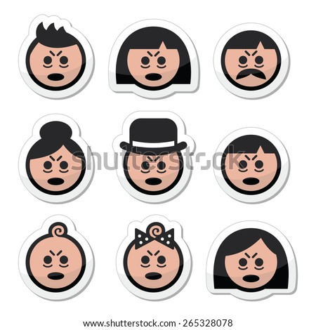 Tired or sick people faces icons set  - stock vector
