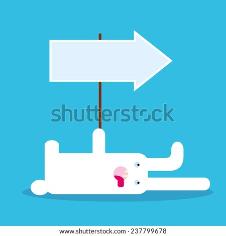 Tired white rabbit lies and shows direction with arrow. Vector
