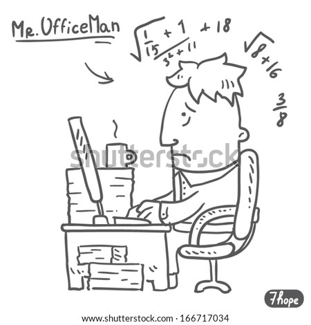 tired worker - stock vector