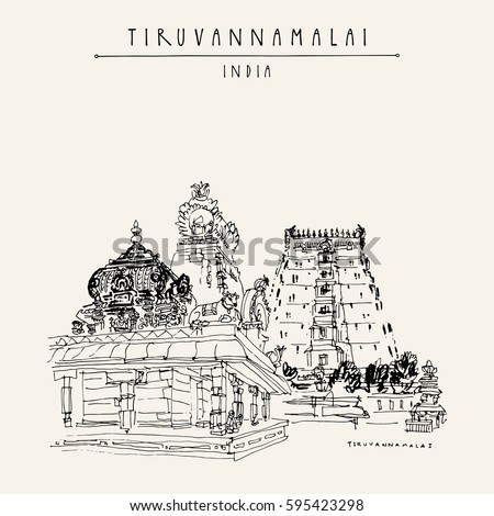 how to draw a hindu temple easy