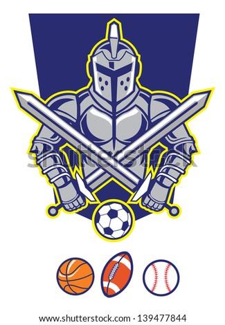 titan mascot with various sport ball - stock vector