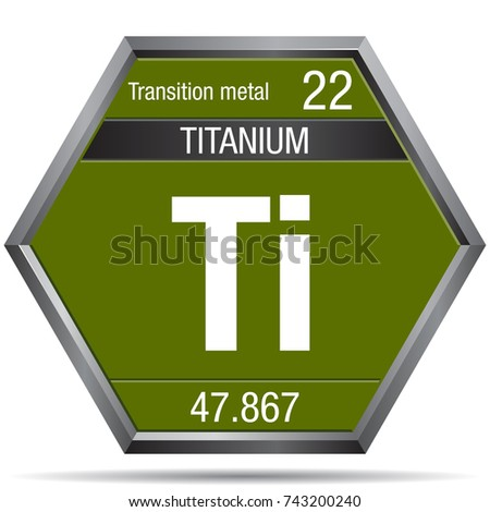 Titanium Symbol Form Hexagon Metallic Frame Stock Photo Photo