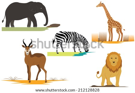Title: Africa Safari Animals Lion Elephant Giraffe Gazelle and Zebra Description: Set of Africa Safari Animals Lion Elephant Giraffe Gazelle and Zebra - stock vector