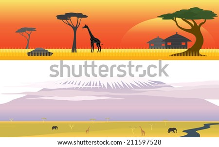 Title: Africa Savanna Safari and Great mountain landscape Description: Set of Africa Savanna Safari and Great mountain landscape - stock vector