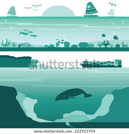 Title: Set of Coral Reef and Deep Undersea Landscape Description: Set of Coral Reef and Deep Undersea Landscape Vectors - stock vector