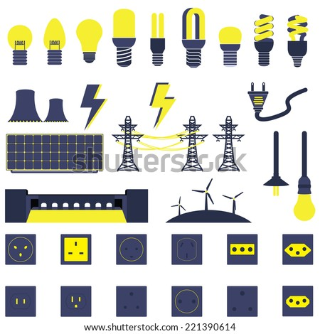 Title: Set of Electric Power Energy Vectors and Icons Description: Set of Many Electric Power Energy Vectors and Icons - stock vector