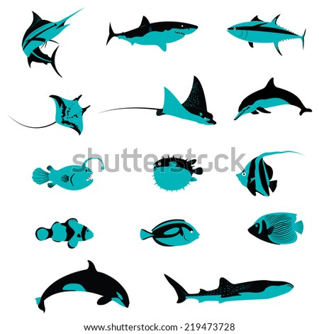 Title: Set of Fish Underwater Aquatic Shell Animals and Creatures icons Description: Set of many Fish Underwater Aquatic Shell Animals and Creatures icons - stock vector