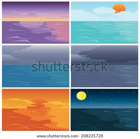 Title: Set of Time of Sky Sea and Ocean Description: Set of many time of Sky Sea and Ocean  dawn day cloud raining sunset night - stock vector