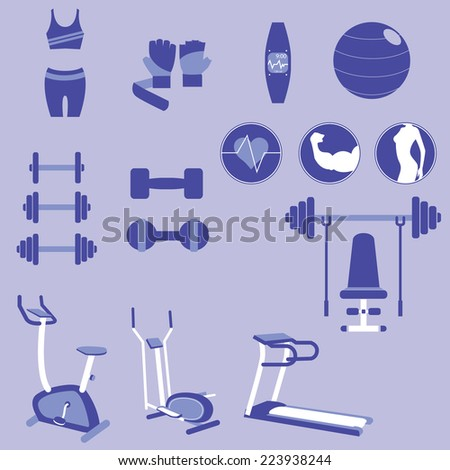 Title: Set of Weight Training and Fitness Exercise Vectors and Icons Description: Set of many Weight Training and Fitness Exercise Vectors and Icons - stock vector