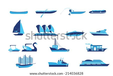 Title: Types of boat and Ship Transportation Description: Types of boat and Ship Transportation vector and icon - stock vector