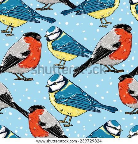 titmouse bullfinch, fashion textiles seamless. vector illustration - stock vector
