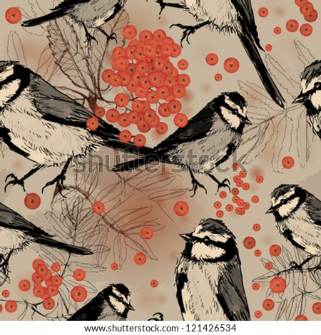 Titmouse in Rowan tree / Seamless background with birds - stock vector