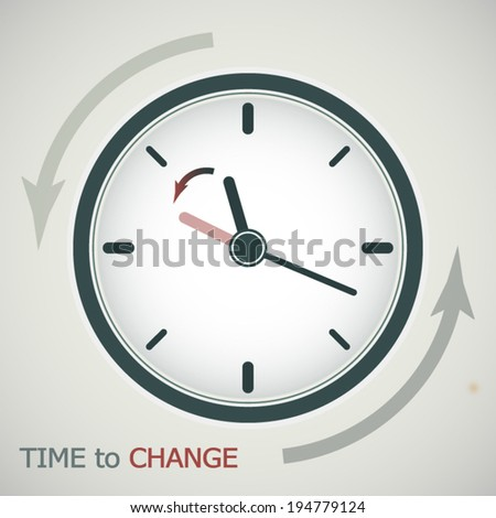 Tme to change or clock change, getting one hour back concept poster - stock vector