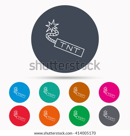 TNT dynamite icon. Bomb explosion sign. Icons in colour circle buttons. Vector - stock vector