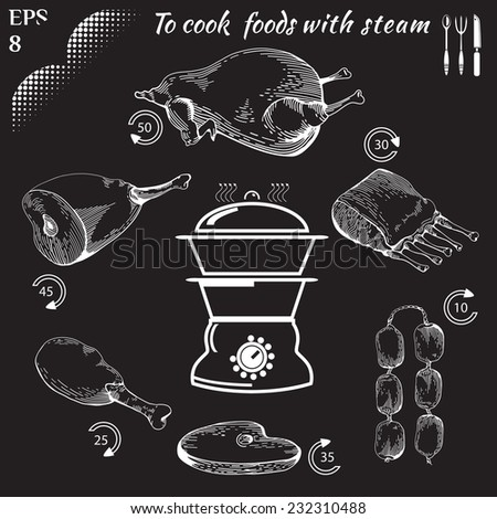 To cook foods with steam. Healthy food. Cooking on Steaming. Tasty meat concept collection. Engraving Illustration of meat. Drawn in a doodled style. Poster on chalkboard. Eps 8 - stock vector