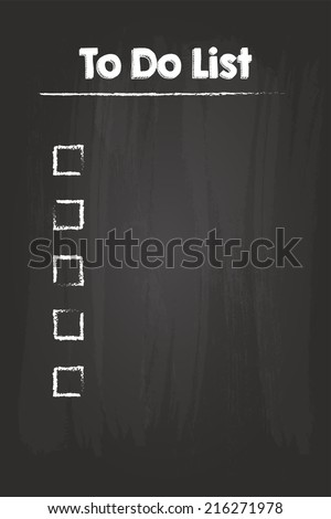 To Do Check List On Blackboard - stock vector