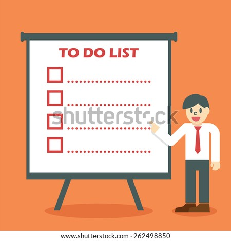 to do list concept, businessman giving a presentation about to do list - stock vector