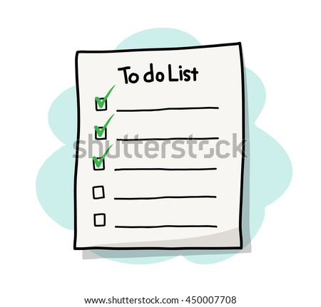 To Do List Reminder, a hand drawn vector illustration of a to do list/checklist paper reminder.