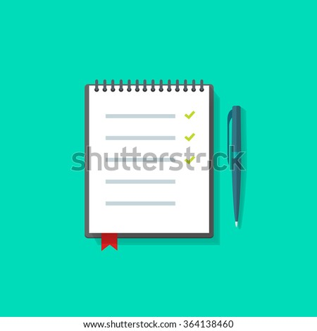 To do list vector illustration, things reminder icon, notebook bookmark, pen, concept of checklist, task list, test exam, scheduling, business plan project, social research flat modern design isolated - stock vector