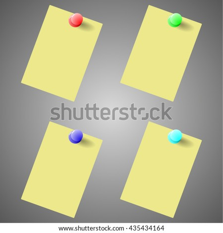 To Do list - Yellow post with pin collection on grey background. Vector