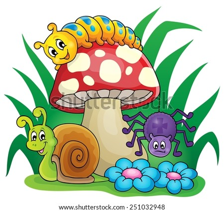Toadstool with small animals - eps10 vector illustration. - stock vector