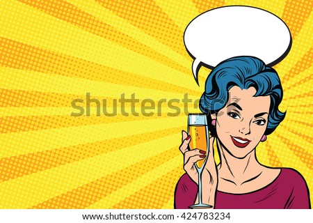 Toast girl party yellow retro background pop art retro vector. Celebration and party. Alcohol drink - stock vector