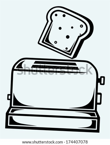 Toast popping out of a toaster. Image isolated on blue background - stock vector