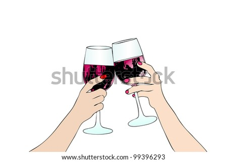 Toast with red wine between two women