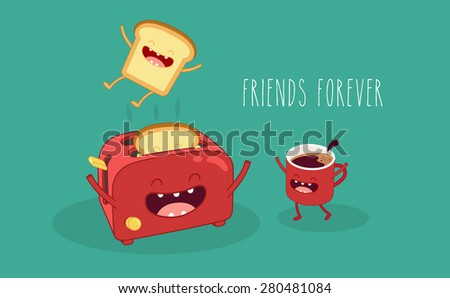 Toaster and funny toasted bread and coffe cup. Vector cartoon. Friends forever. Comic characters. - stock vector