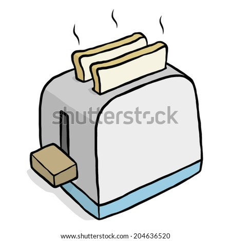 toaster / cartoon vector and illustration, hand drawn style, isolated on white background. - stock vector