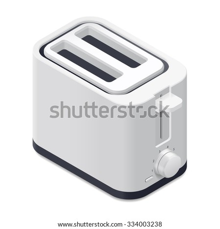 Toaster detailed isometric icon vector graphic illustration - stock vector